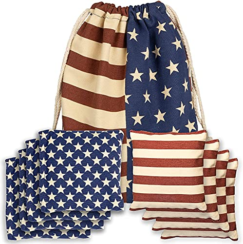 Corn Filled Cornhole Bags - Set of 8 American Flag Bean Bags for Corn Hole Game - Regulation Size & Weight - Stars and Stripes