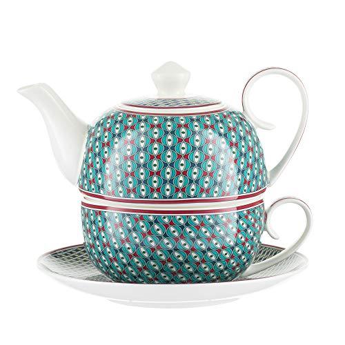 Jameson & Tailor Tea for One 4-teiliges Set Iglu-Teekanne, Tasse, Untertasse