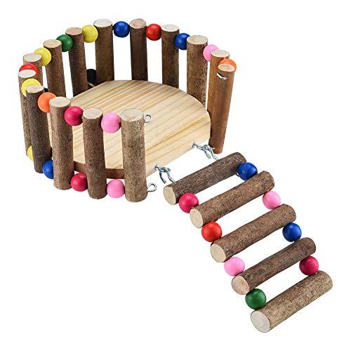 Furpaw Hamster Leiter, Holz Hamster Spielzeug Dekoration für Meerschweinchen Chinchillas Mäuse Ratten