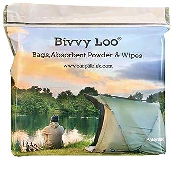 Bivvy Loo - Portable Toilet Liner Bags Pack - Camping Toilet Liner Bags - 40 Additional Biodegradable Wipes, 12 Biodegradable Liner Bags & 12 Sachets of Waste Managing Powder ?