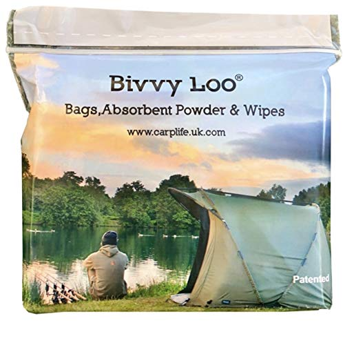 Bivvy Loo zestaw uzupełniający – przenośne torby do toalety – kempingowe torby toaletowe – 40 biodegradowalnych chusteczek, 12 biodegradowalnych worków wkładkowych i 12 saszetek proszek do zarządzania odpadami