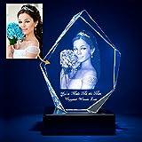 Nsipan Foto de Cristal 3D Personalizada, Cristal Grabado Personalizado con Imagen, Memorable para el día del Padre, Boda, cumpleaños, graduación