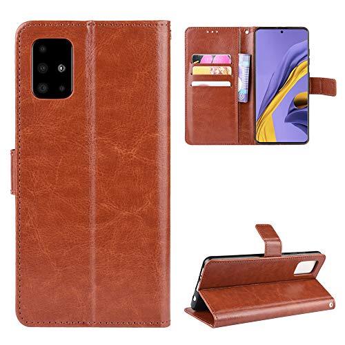 Snow Color Galaxy A51 Hülle, Premium Leder Tasche Flip Wallet Case [Standfunktion] [Kartenfächern] PU-Leder Schutzhülle Brieftasche Handyhülle für Samsung Galaxy A51 - COBYU030164 Braun