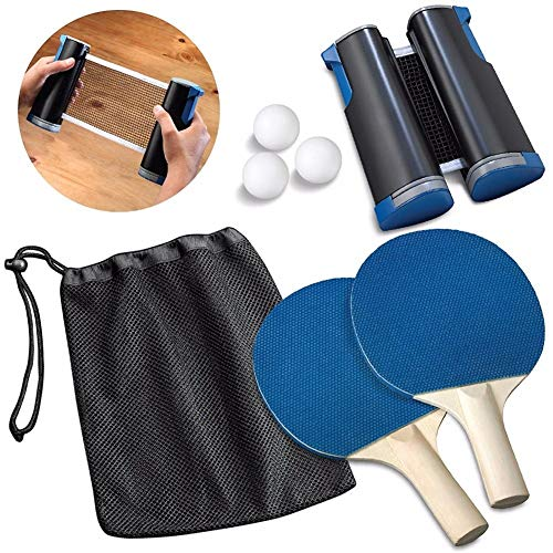 Buy Bargain CHQUC Table Tennis Racket,Professional Ping Pong Paddle Set with Retractable Net, 1 Pair...
