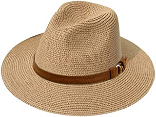 JOYEBUY Womens UPF50 Foldable Summer Straw Hat Wide Brim Fedora Sun Beach hat