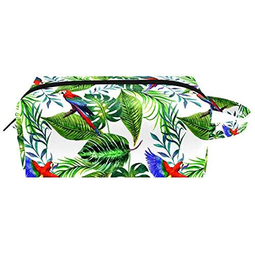 Sac cosmétique Portable Voyage Maquillage Sacs Organisateur de Toilette étui à Crayons pour Femmes Filles Feuilles Tropicales Perroquet