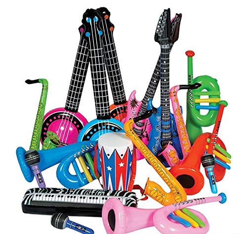 Rhode Island Novelty Rock Band Inflate Instrument Kit 24 Pieces