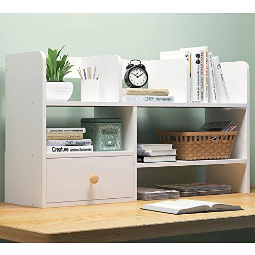 Librería de estilo Multicapa de madera Estantería de escritorio Contador Librería con estantes cajones de escritorio estante de almacenamiento organizador de libros, revistas, DVDs y Más Estante organ