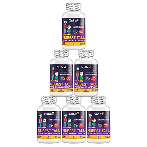 Maximum Natural Height Growth Formula - NuBest Tall 60 Veggie Capsules, Herbal Peak Height Pills, Grow Taller Supplements, Doctor Recommended, for People Who Don't Drink Milk Daily (Pack of 6)