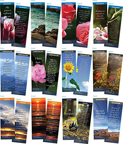 Bible Cards | Popular Scripture Memory Verses | Pack of 60 Christian Bookmarks | Great Gift to Build Faith, Encourage and Share The Gospel |12 Hand Picked Colorful, 5 of Each Design | Assortment 6