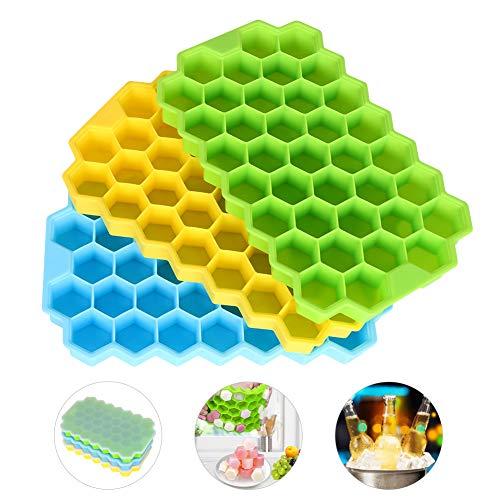 Outivity Eiswürfelform Silikon 3 Pack Eiswürfelbehälter mit Abnehmbaren Deckel,Stapelbarer Flexibler Ice Cube Tray Eiswürfel Form für Whisky Cocktails Suppen und Gefrorene Leckereien - BPA Frei