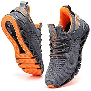 TSIODFO Sneakers for Men Slip on Fashion Casual Sport Running Tennis Athletic Walking Shoes Gym Runner Trail Shoes Non-Slip Jogging Shoe Grey Size 11