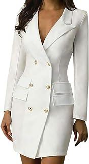 Women Solid Fahsion Button Suit Business Dress ❀ Ladies Turn-neck Long Sleeve Casual Pocket Blouse Mini Dress Skirt