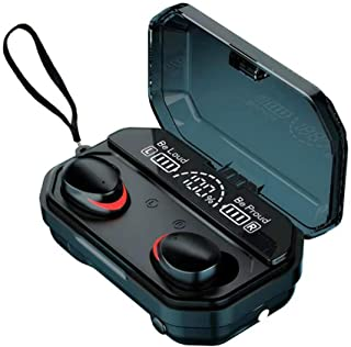 Audífonos Bluetooth - Pesoo Auriculares Inalámbricos Deportivos Mini Sonido Estéreo In-Ear Bluetooth 5.1 Impermeable con Caja de Carga Portátil de Gran Capacidad y Micrófono Integrado para iPhone y Android