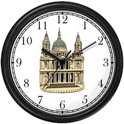 St. Paul's Cathedral England - Famous Landmarks - Theme Wall Clock by WatchBuddy Timepieces (White Frame)