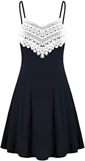 CUCUHAM Fashion Womens Crochet Lace Backless Mini Slip Dress Camisole Sleeveless Dress