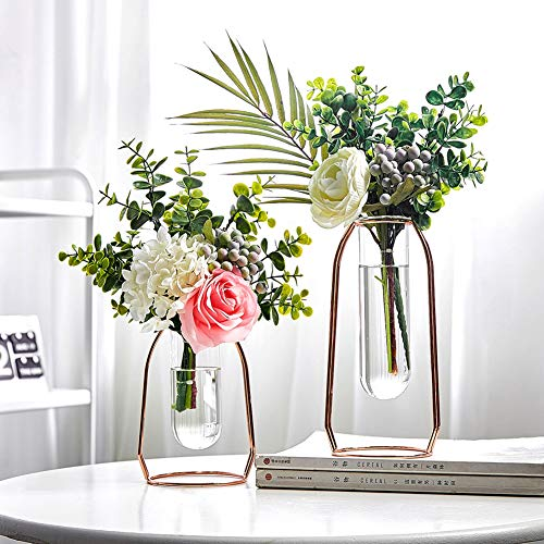 PAKASEPT Glass Flower Vases, Set of 2 Glass Vases with Metal Frame,Clear Vases for Flowers Artificial Flowers in Vase Decoration for Living Room Bedroom Kitchen for Birthday Wedding (Rose gold)
