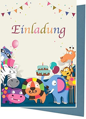 15 Einladungskarten Kindergeburtstag tiere Safari Geburtstagseinladungen Einladungen Geburtstag Kinder Jungen Mädchen (15 Karten mit 15 passenden Umschlägen Briefumschlägen)