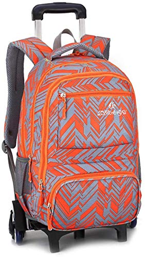 B/H Primary Children School Rolling Trolley,Student trolley schoolbag female, detachable junior high school rolling bag-Orange (Six Rounds),Wheeled Waterproof Bookbag
