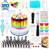 Popolic 120 Pcs Cake Decorating Equipment,Professional DIY Cupcake Decorating Kit for Beginners Baking Supplies Rotating Turntable Stand,Frosting,Piping Bags&Tips Set,Icing Spatula Pastry Tool &E-Book