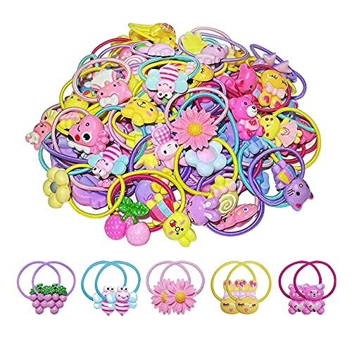 100 PCS Hair Ties for Baby Girls, Elastic Rubber Bands Colorful Hair Accessories for Kids Toddlers Little Girls