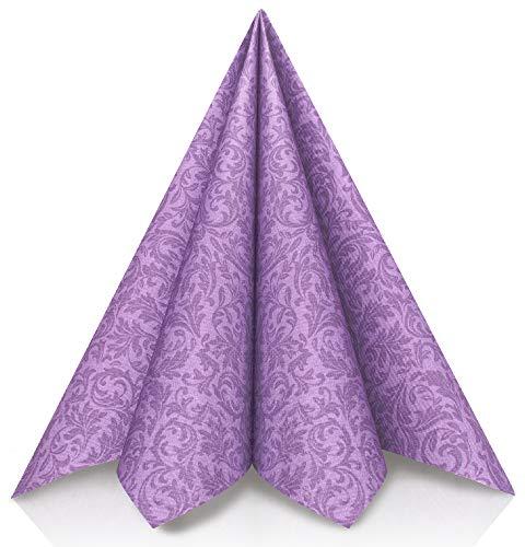 GRUBly Servietten LILA, VIOLETT | Stoffähnlich [50 Stück] | Hochwertige lila Tischdekoration für Hochzeit, Geburtstag, Feiern, Weihnachten | 40x40cm | AIRLAID QUALITÄT