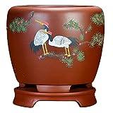Rojo Macetero Ceramica Pequeno con Orificio de Drenaje Hecho a Mano Macetas Ceramica Grande para Macetas de Plantas Suculentas y Aloe Vera Ø 24 cm x H 29.5 cm
