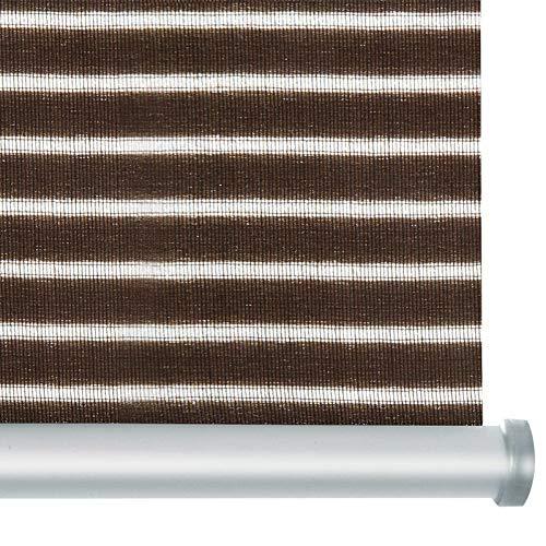 casa pura® Rollo Deluxe Stripe Brown | Blickdicht & lichtdurchlässig | Klemmrollo für Fenster, auch ohne Bohren anbringbar | mit Metallschiene und -Kette | 9 Größen (55x150cm)