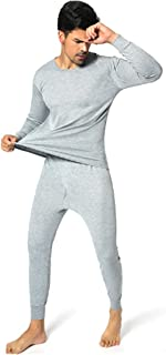 Inlefen Men's Thermal Underwear Sets Long Johns Round Neck Soft Breathable Elastic Slim Winter Man Long Sleeve Tops and Long Bottoms