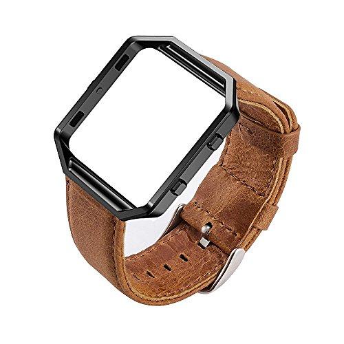 MroTech Horlogeband Lederen Armband compatibel voor Fitbit Blaze Smartwatch Reserveband Leer Kijk Horloge Band met Stalen Frame Polsband Reserveband Horlogebandje-Bruine band/zilveren gesp/zwart frame