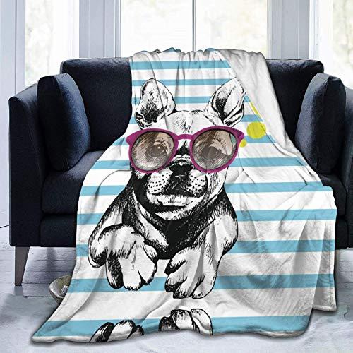 AEMAPE Ropa para Perros Patrón de Gafas de Sol Morado Manta Estampada Manta cálida Manta Suave para sofá de Oficina en casa