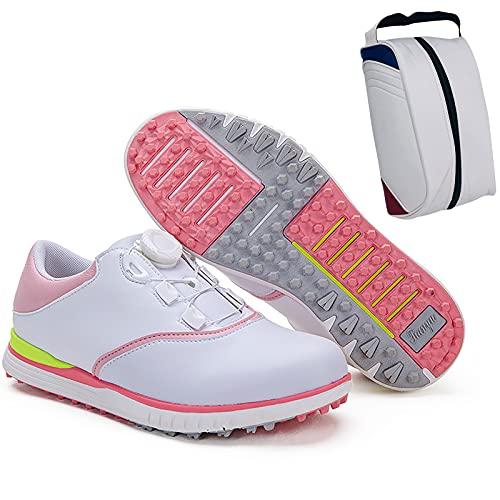 Scarpe da Golf per Donna - Borsa per Scarpe, Women's Golf Shoes Impermeabili Antiscivolo,Traspirante Resistente all'Usura Fondo Senza Unghie Scarpe Ginnasti,Style 2,5US