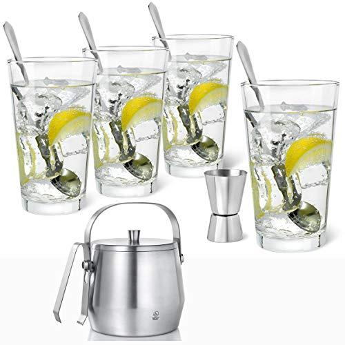 Bredemeijer Gin Tonic Set met glazen 9-delig & ijsbakje ijsemmer roestvrij staal mat met deksel