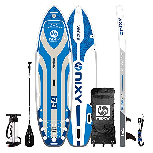 """NIXY Venice Paddle Board Inflatable Cruiser SUP 10'6' x 34"""" x 6"""" Ultra-Light Stand Up Paddleboard Built with Dual Layer Woven Drop Stitch Includes Carbon Hybrid Paddle, Pump, Bag & More (Blue)"""