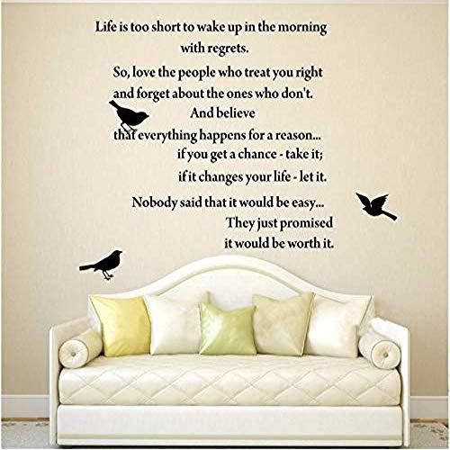 Das Leben ist zu kurz Inspirierende Gedichte Wandkunst Zitat Aufkleber Vinyl Schriftzug Worte Schriftzug Home 57X53Cm