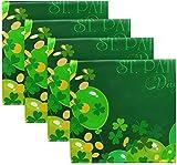 Set di 4 palloncini verdi Happy St Patricks Day Trifoglio irlandese Trifoglio Moneta d'oro Tovaglioli di stoffa verde scuro Tovaglioli da tavola in poliestere lavabile 20 'x 20' per tavolo da pra