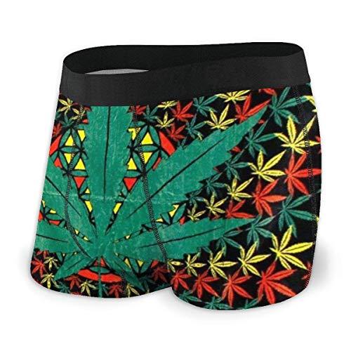 Boxershorts Shorts Spiral Marihuana Weed Cannabis Rasta Leaf Weiche, atmungsaktive, Bequeme Unterwäsche für Männer