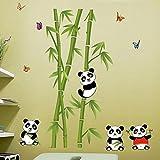 Alicemall Sticker Bambou Panda Mignon Papillons Sticker Mural Chambre Enfant Autocollant Mural Enfant Déco Mural Chambre (sticker bambou panda)