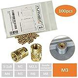 ruthex® inserto roscado M3 (100 piezas) | Casquillos roscados de latón RX-M3x5,7 | Tuerca a presión para piezas de plástico | por calor o ultrasonido en piezas de impresora 3D