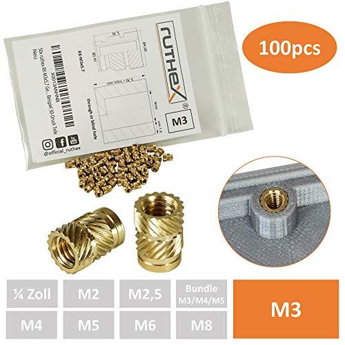 ruthex Gewindeeinsatz M3 (100 Stück) | RX-M3x5,7 Messing Gewindebuchsen | Einpressmutter für Kunststoffteile | durch Wärme oder Ultraschall in 3D-Drucker Teile