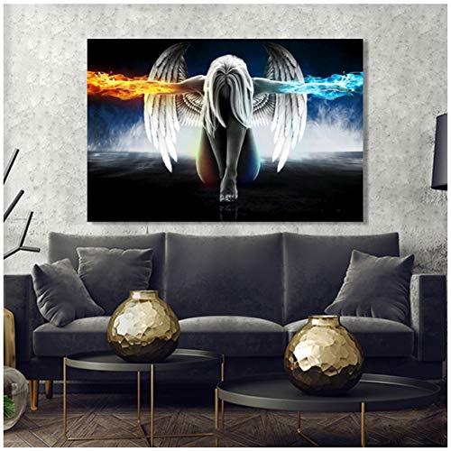 A&D EIS und Feuer Engelsflügel Wanddekoration Abstrakte Porträt Poster Drucken Wandkunst Leinwand Gemälde Bilder für Wohnzimmer Decor-60x90 cm Kein Rahmen