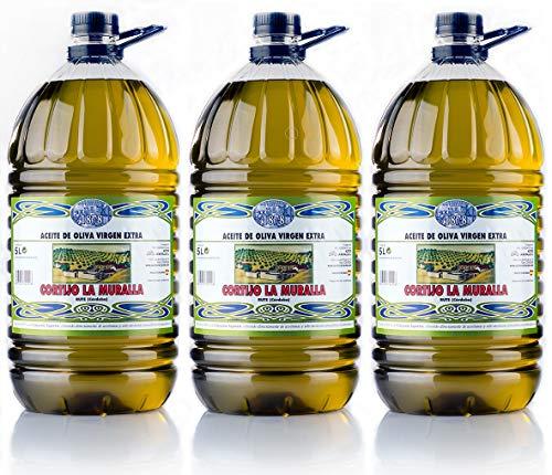 Cortijo La Muralla - Aceite de Oliva Virgen Extra Variedad Hojiblanca - Cosecha Familiar - Caja de 3 garrafas de 5L