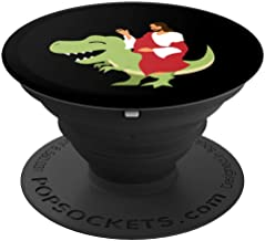 Funny Parody Jesus Riding Dinosaur Cute Meme Dino Gift PopSockets Grip and Stand for Phones and Tablets