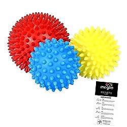 meglio spiked massage balls for deep tissue massage, set of 3 spiked massage balls for trigger point treatment & myofascial relaxation, stress reflex zone massage and blood circulation