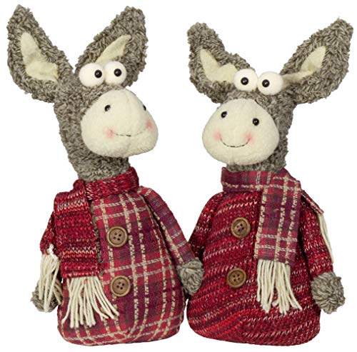 Christmas Paradise Deko-Figur Weihnachtsdeko Esel 2er Set Dekoration 2 Designs Maultier 28cm Rot