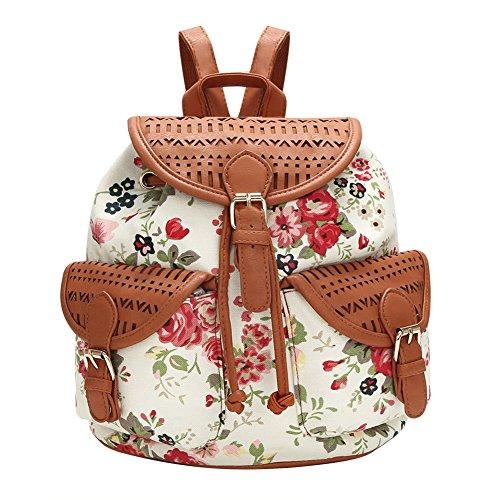 Zicac zaino donna a spalla in tela borsa con fiore (marrone)