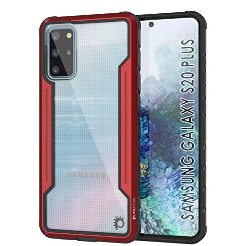 Punkcase Galaxy S20 Plus Case [Avenger Defense Series] Protective Military Grade Multilayer Cover W/Aluminum Frame [Clear Back] Ultimate Drop Protection for Your S20 Plus (6.7') (2020) (Red)