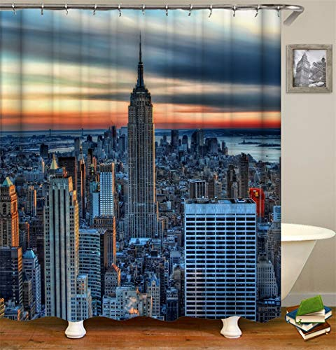 Shower Curtain Set with Hooks The Empire State Building New York City Morden World Scenery Polyester Fabric Bathroom Accessories