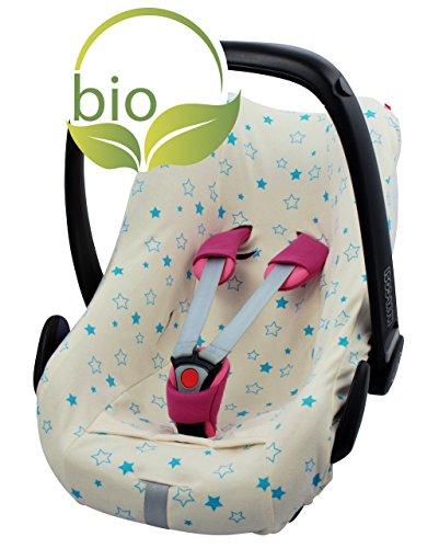 ByBoom - Sommerbezug, Schonbezug für Babyschale aus 100% BIO-Baumwolle mit Motiv, Universal für z.B. Maxi-Cosi, CabrioFix, Pebble, City SPS, Farbe:Natur - Sterne Aqua