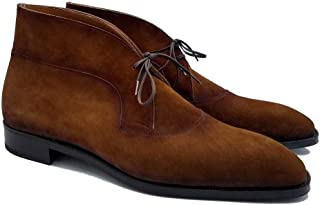 Costoso Italiano Brown Suede Formal Lace Up Dress Boots for Men